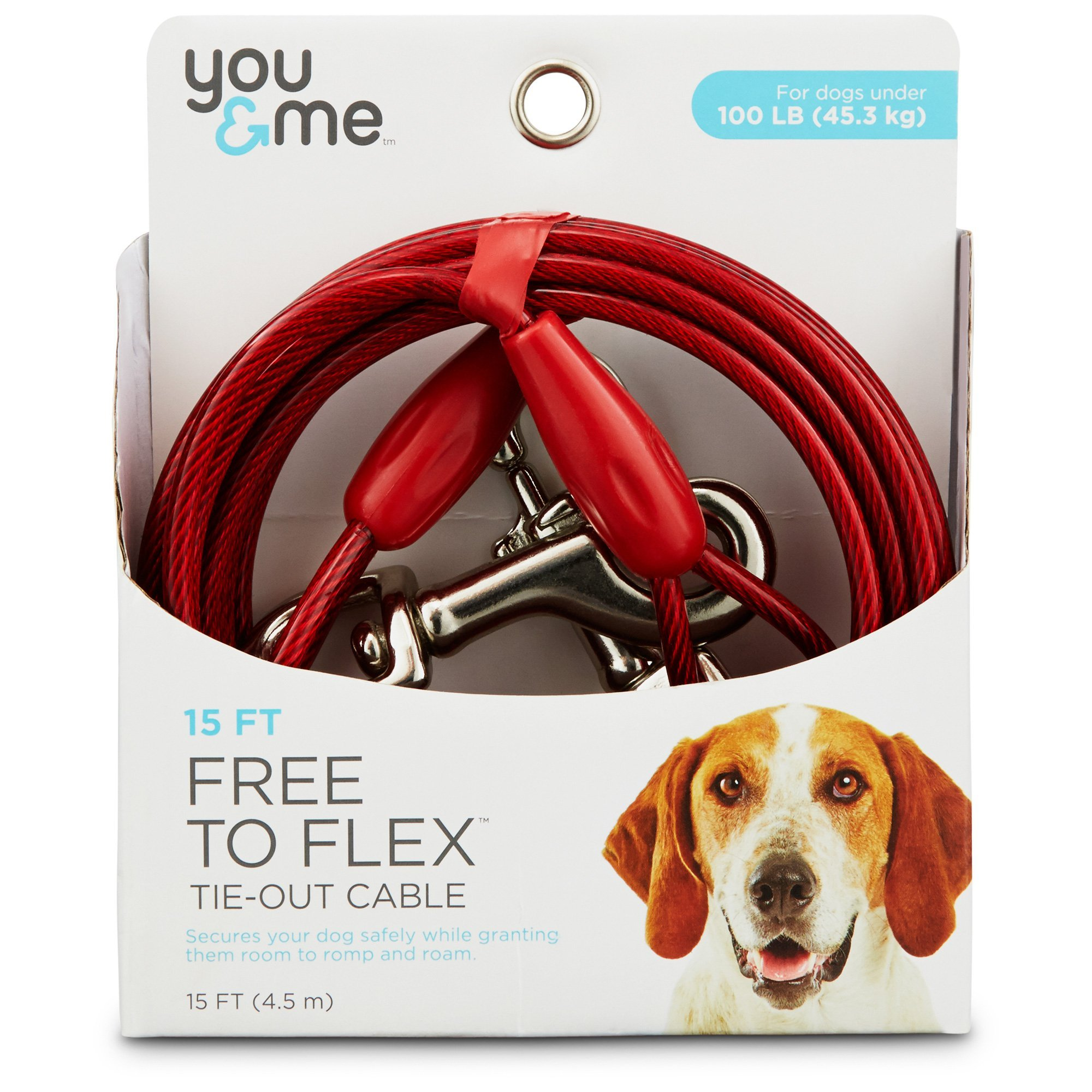 You & Me Red Large Free to Flex Dog Tie-Out Cable, 40' L, For Dogs up to 100 Lbs.