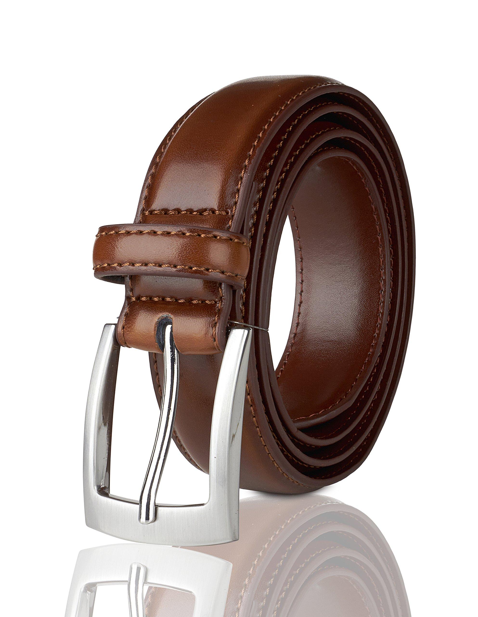Belts for Men Mens Belt Buckle Genuine Leather Stitched Uniform Dress Belt - Amber - Size 50 (Waist 48) by Sportoli (Image #1)