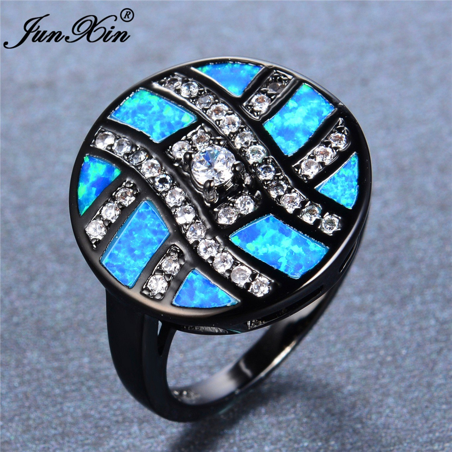 Slyq Jewelry Male Female Round Ring with AAA Zircon bluee Fire Opal Ring Black gold Wedding Rings for Men and Women