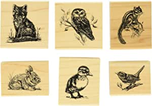 Burly Wood NBEADS 6 Pcs Animal Pattern Wooden Stamps 1.2x1.59x0.96 Animal Pattern Printed Ink Stamps Decorative Rubber Stamp Set for DIY Craft Letters Diary and Craft Scrapbooking