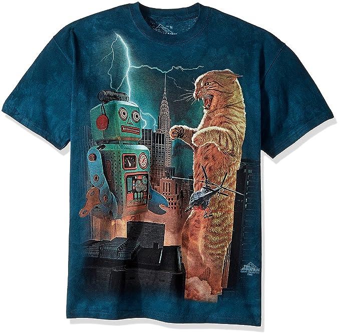 dcf4144f Amazon.com: The Mountain Men's Catzilla Vs. Robot T-Shirt: Clothing