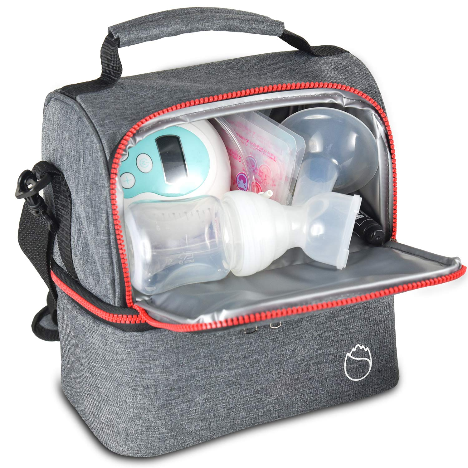 Freshore Breastmilk Bottle Coolers Bag - Insulated Breast Milk Tool Storage for Breastfeeding Moms Tote - Two-Layer Style Design Grey by Freshore