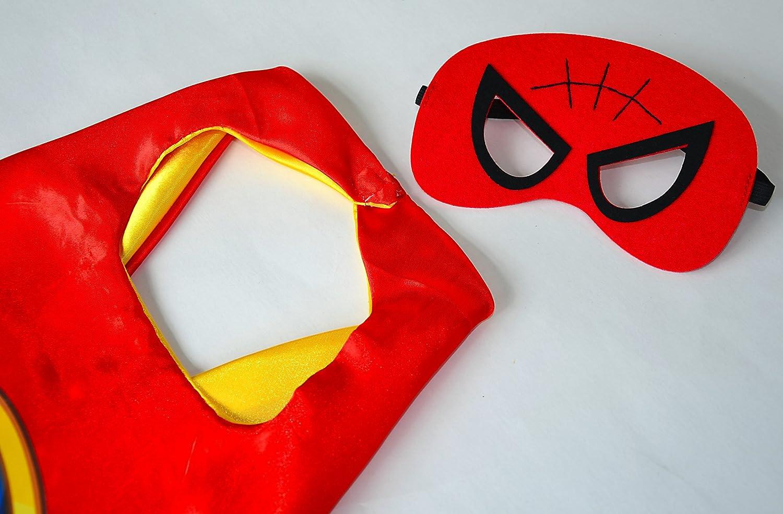 Spiderman rojo capa y máscara para niños superhéroe - Superhéroes niños niñas niños Fancy disfraz de fiesta hasta Capes para 2 A 11 Años - satinado doble ...