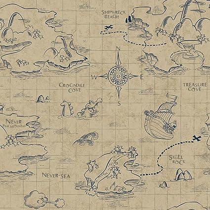 York Wallcoverings DS7645 Walt Disney Kids II Pirate Map Wallpaper ...