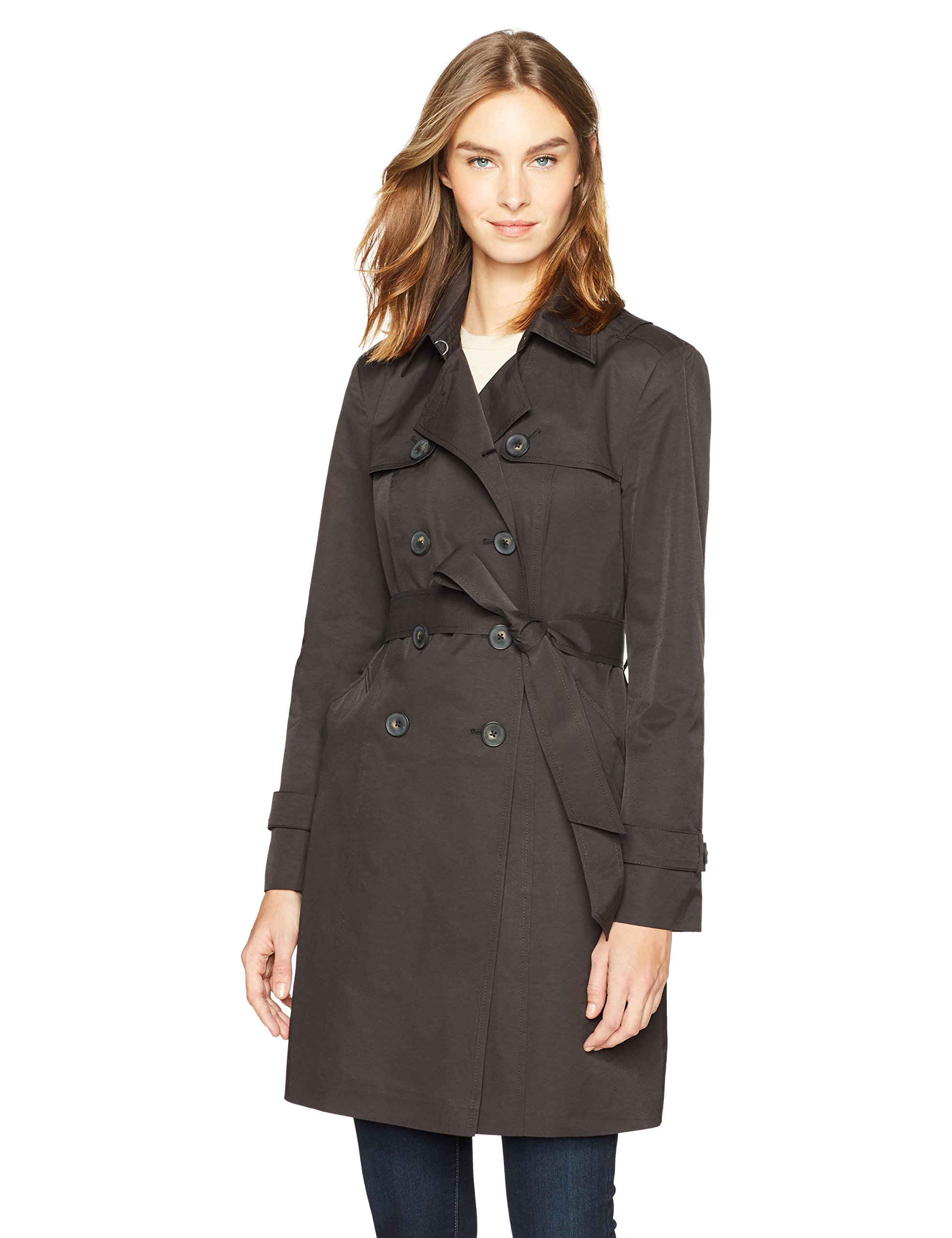 Haven Outerwear Women's Double-Breasted Trench Raincoat, Black, Large