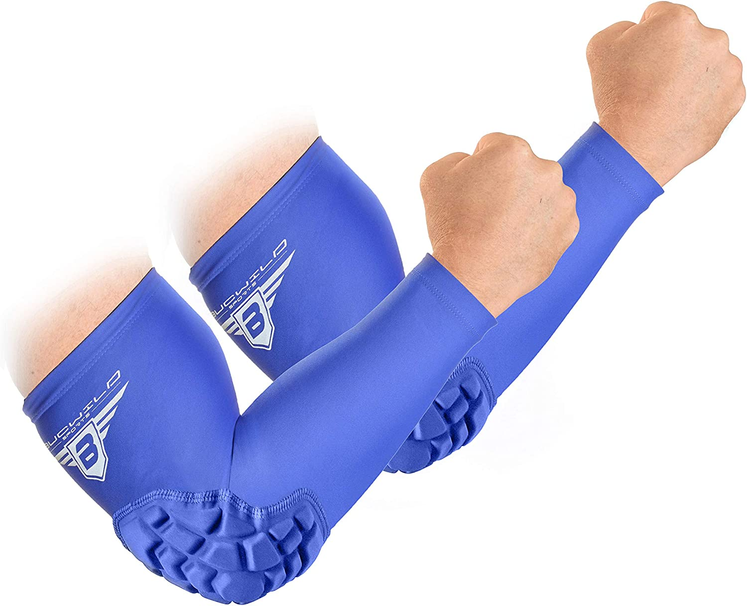 Bucwild Sports Padded Elbow Arm Sleeves for Basketball Football Volleyball Youth & Adult Size Pads (1 Pair) : Clothing