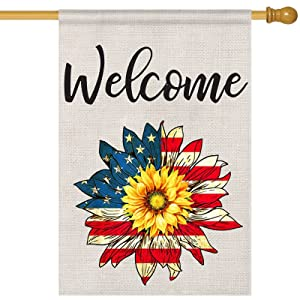Patriotic American Floral Garden Welcome Flag, Sunflower Garden Flag Double Sided 12x 18