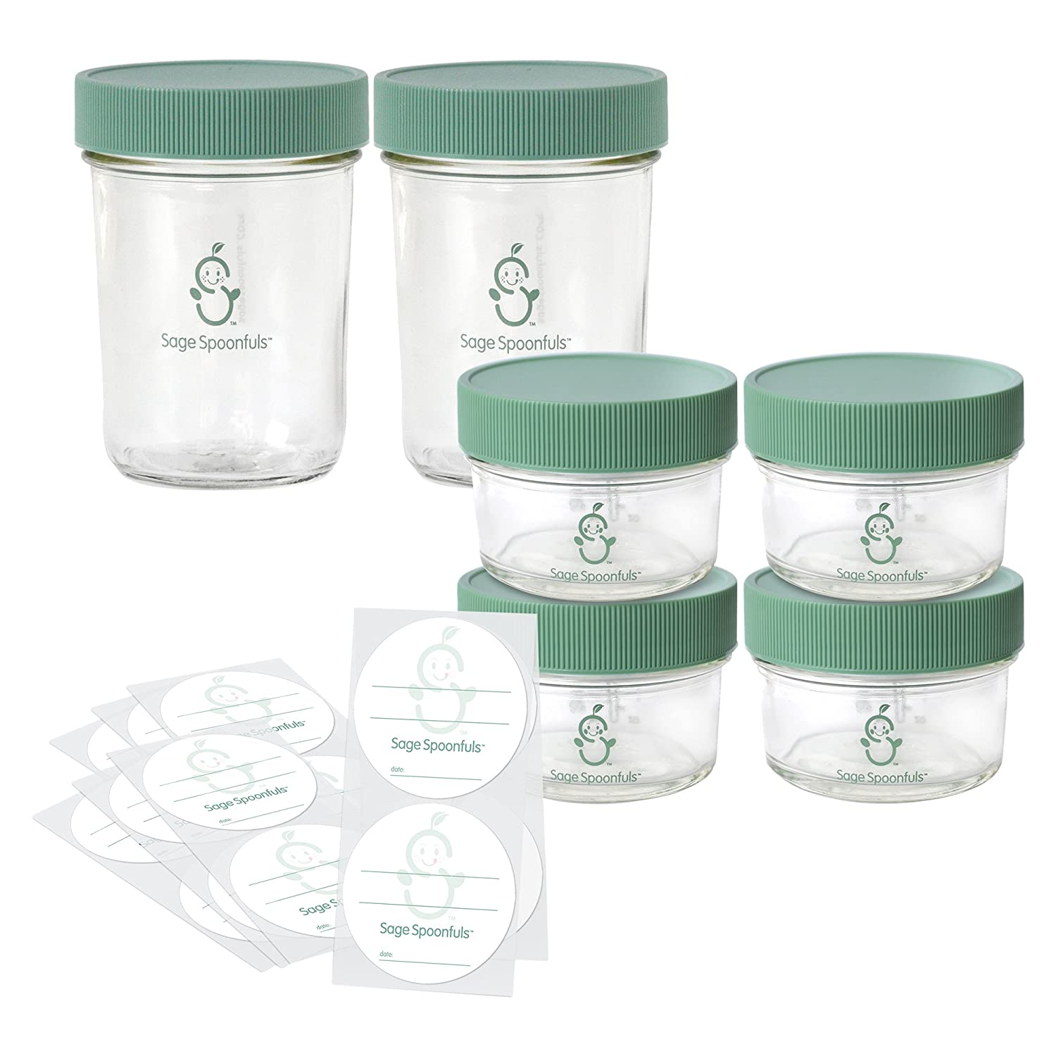 Sage Spoonfuls Make in Bulk Glass Jars, (Set of 2 8oz & 4 4oz Glass Jars)