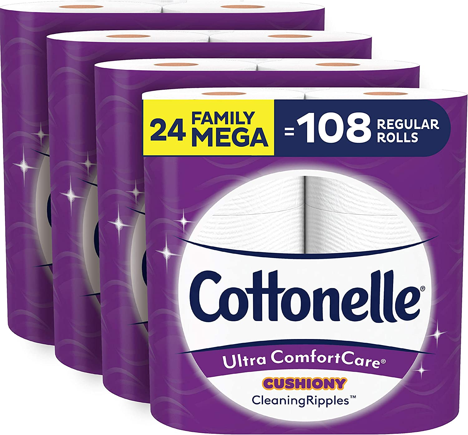 Cottonelle Ultra ComfortCare Soft Toilet Paper with Cushiony CleaningRipples, 24 Family Mega Rolls: Health & Personal Care