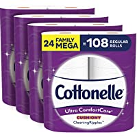 Cottonelle Ultra ComfortCare Soft Toilet Paper with Cushiony CleaningRipples, 24...