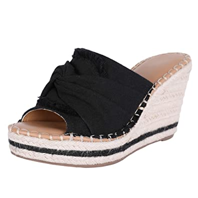 1964b868a Amazon.com | Women's Wedge Espadrilles Crisscross Slide-on Platform ...