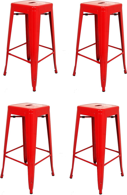 La Silla Española - Pack 4 Taburetes estilo Tolix. Color Rojo. 76x43x43: Amazon.es: Hogar
