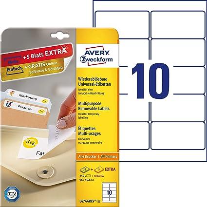 Avery España L4744REV-25 - Etiquetas Blancas Removibles, 99.1 X 57 Mm, 25 Hojas: Amazon.es: Oficina y papelería