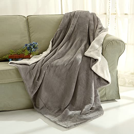 Sherpa Throw Blanket Luxury Grey Twin Size 60x80 Inches Reversible All Season Super Soft Warm Fleece Thick Fuzzy Microplush Blanket for Bed Couch and Christmas Gift Blankets by Snuz