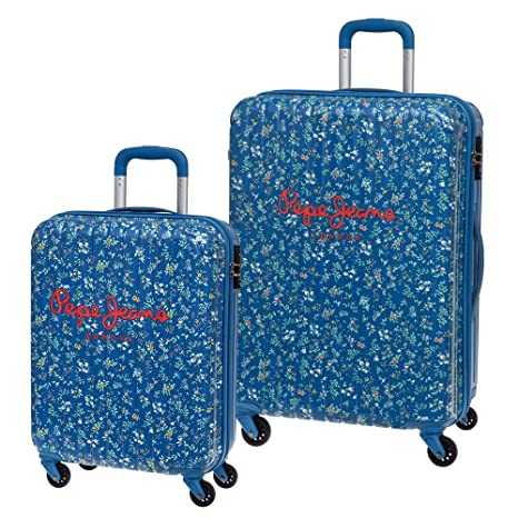 Pepe Jeans Set de Maletas, Diseño Flores, 72 Lt, Color Azul ...