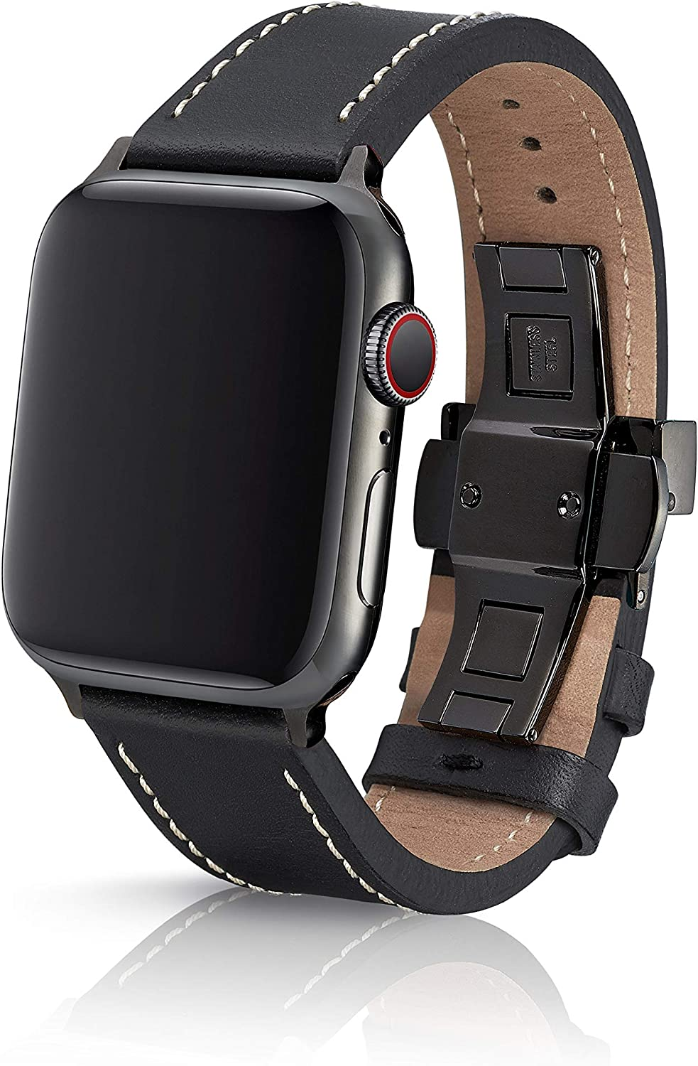 38/40mm JUUK Korza Bianca Premium Watch Band Made for The Apple Watch, Made with Genuine Italian Leather with a Solid Stainless Steel deployant Buckle (Black)