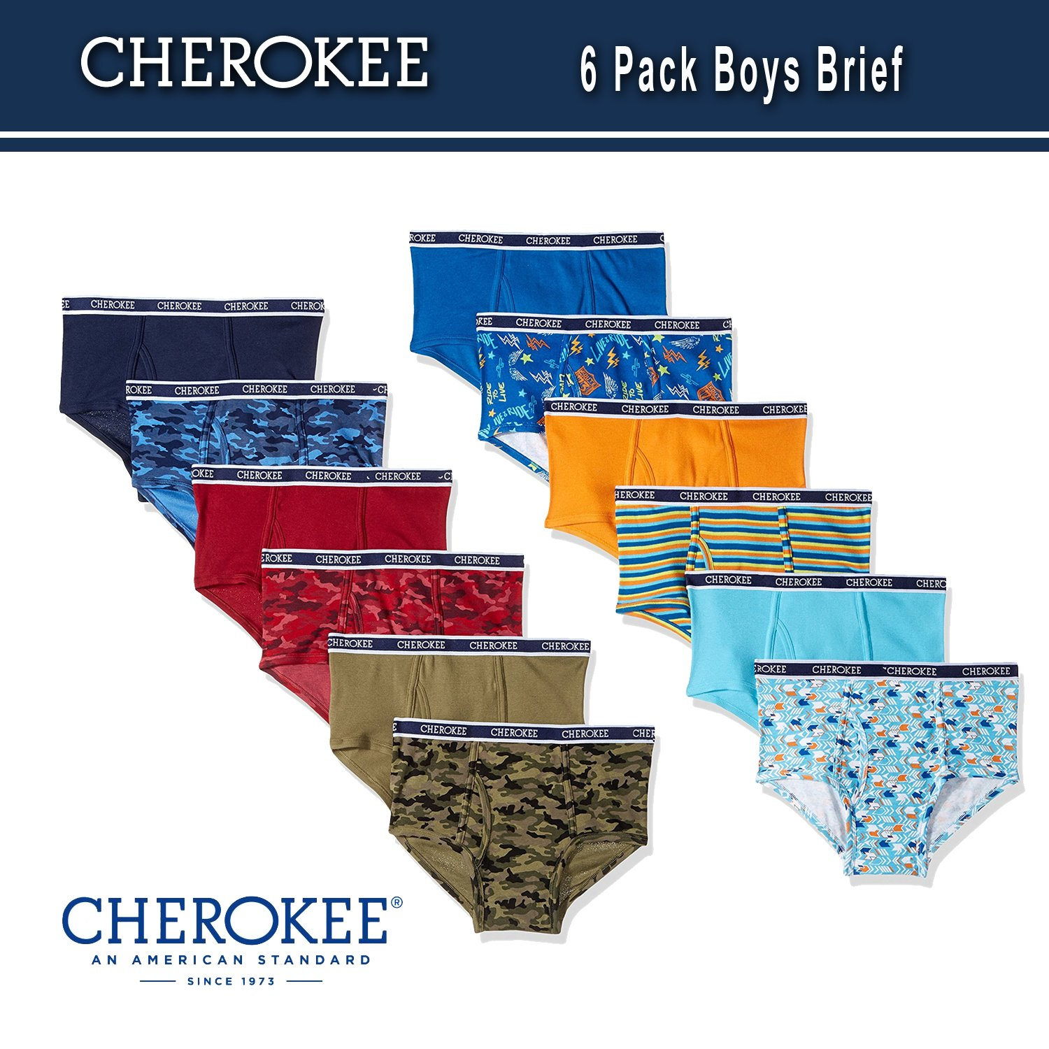 Cherokee Little Boys 6 Pack Brief, Camo/Solid Print Pack, XL by Cherokee (Image #2)