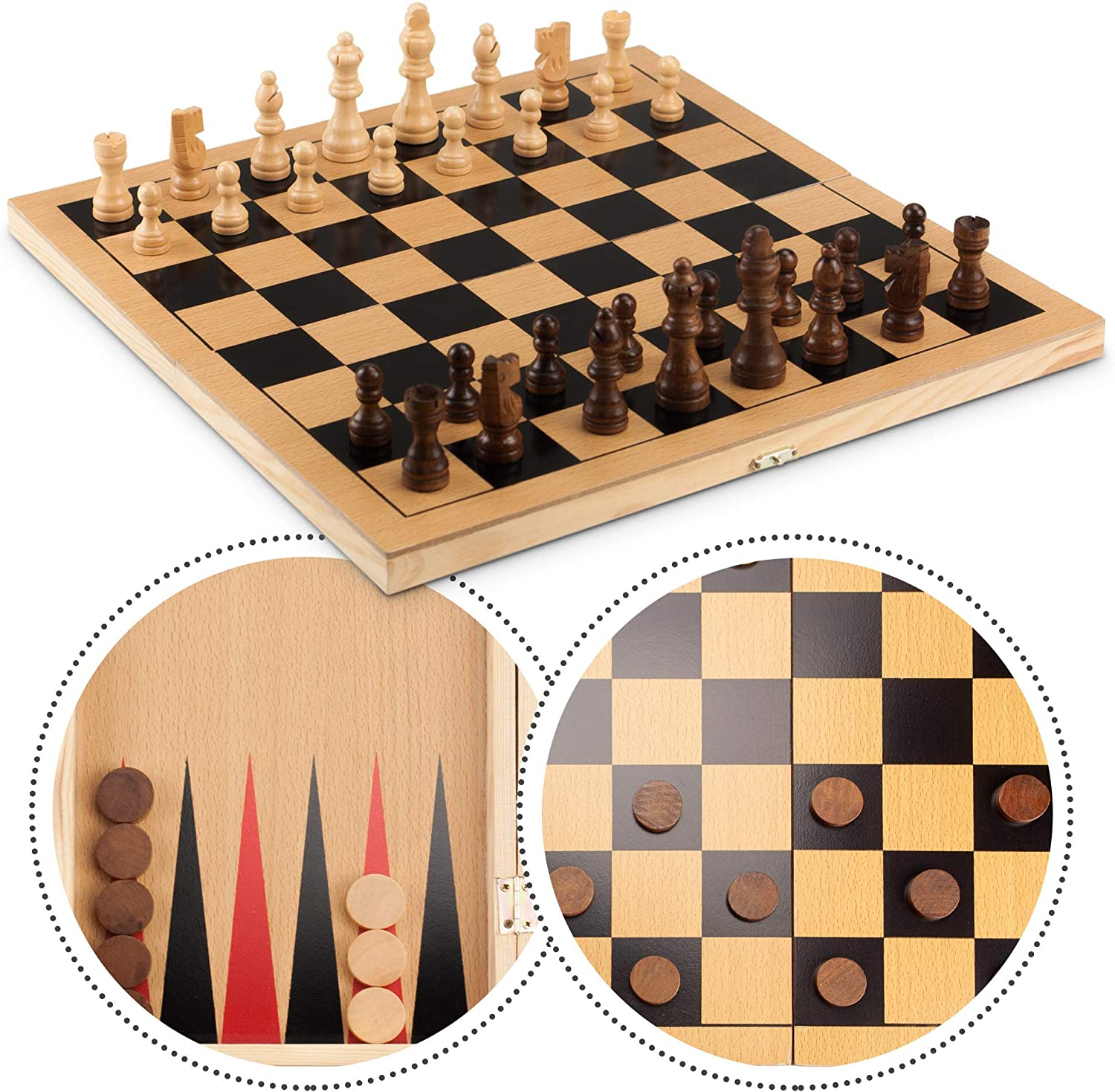 3in1 Large FOLDING WOODEN CHESS SET Board Game Checkers Backgammon Draughts Toy