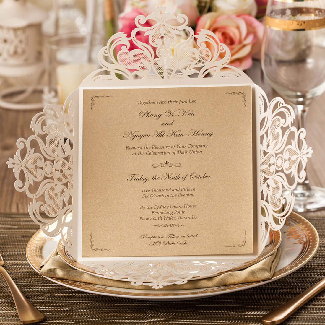 Amazon.com: Wishmade 50x Beige Laser Cut Square Wedding ...