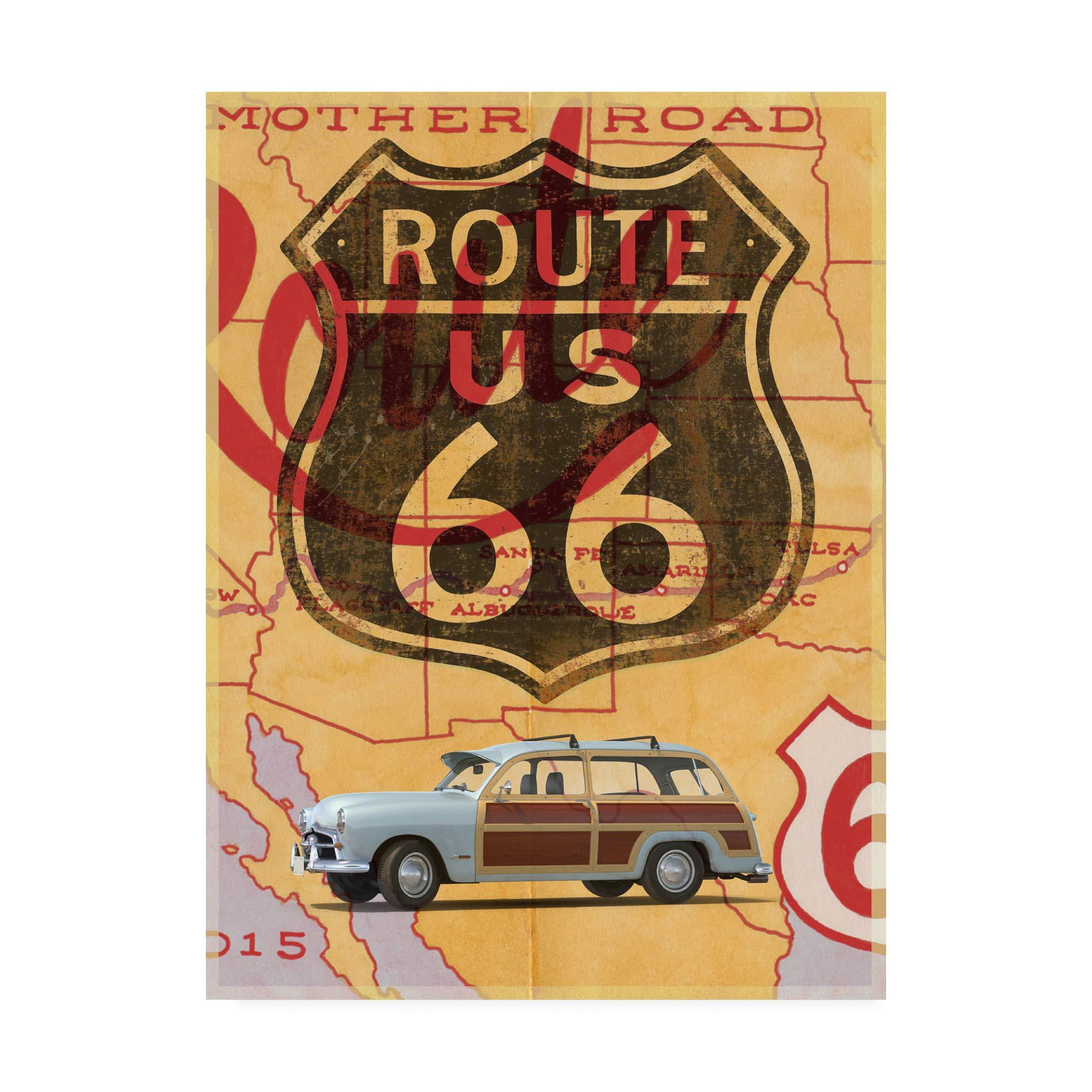 Trademark Fine Art Route 66 Vintage Postcard by Edward M. Fieldin, 35x47 by Trademark Fine Art (Image #1)
