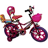 "Rising India 14"" Pink Kids Bicycle For 3-5 Years Double Seated With Basket And Side Wheel."