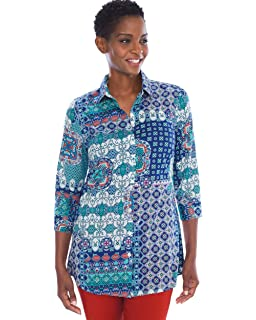 58d014fad9a494 Chico s Women s No-Iron Cotton Stain-Shield Button-Up Easy Shirt at ...