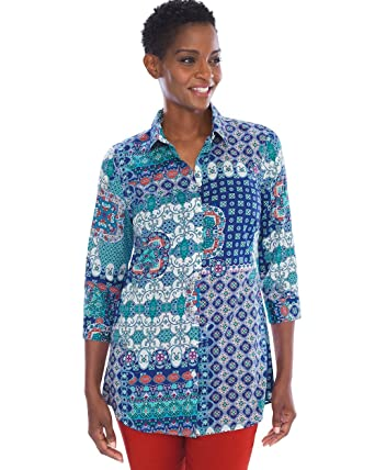 5f6e498137 Chico's Women's No-Iron Cotton-Blend Tilework Pocket Tunic Size 4 S (0)  Green at Amazon Women's Clothing store: