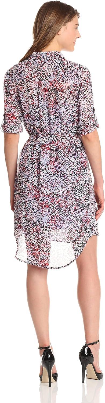 DKNYC Womens Long Sleeve Shirt Dress