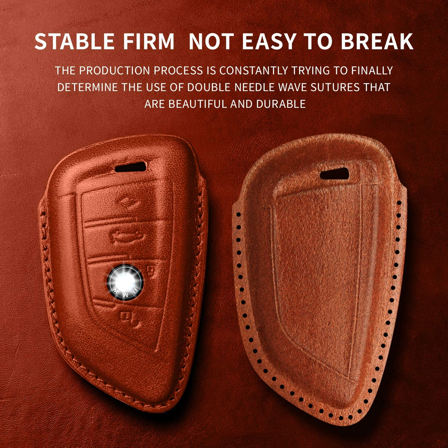 Brown Keyless Entry Genuine Leather key case for BMW 2 5 6 7 Series X1 X2 X3 X5 X6 X7 Series GT Autophone For BMW key fob cover,Premium Fashion Appearance With metal hook