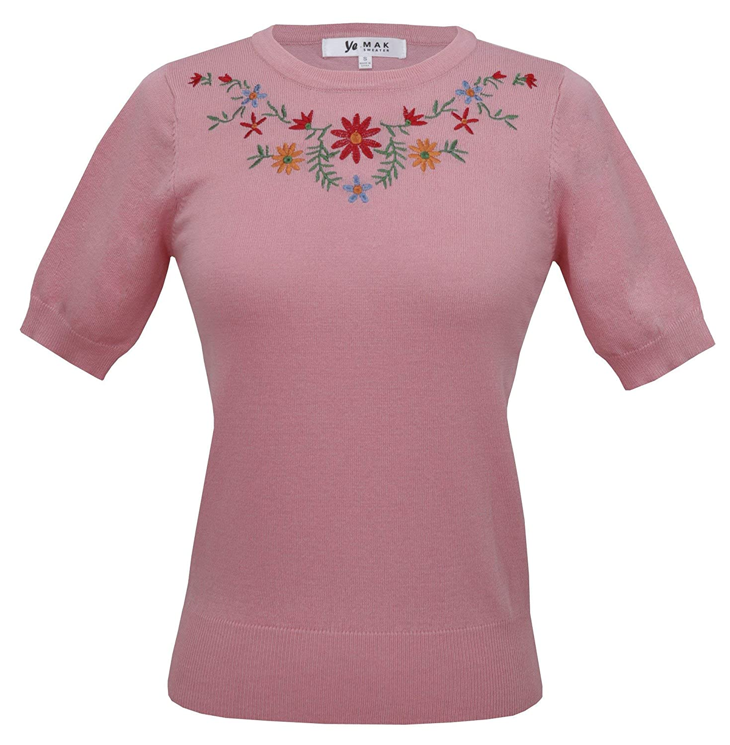 1950s Sweaters, 50s Cardigans, 50s Jumpers YEMAK Daisy Flower Embroidered Cute Pullover Sweater Vintage Inspired MK3664EMBO(S-L) $21.50 AT vintagedancer.com