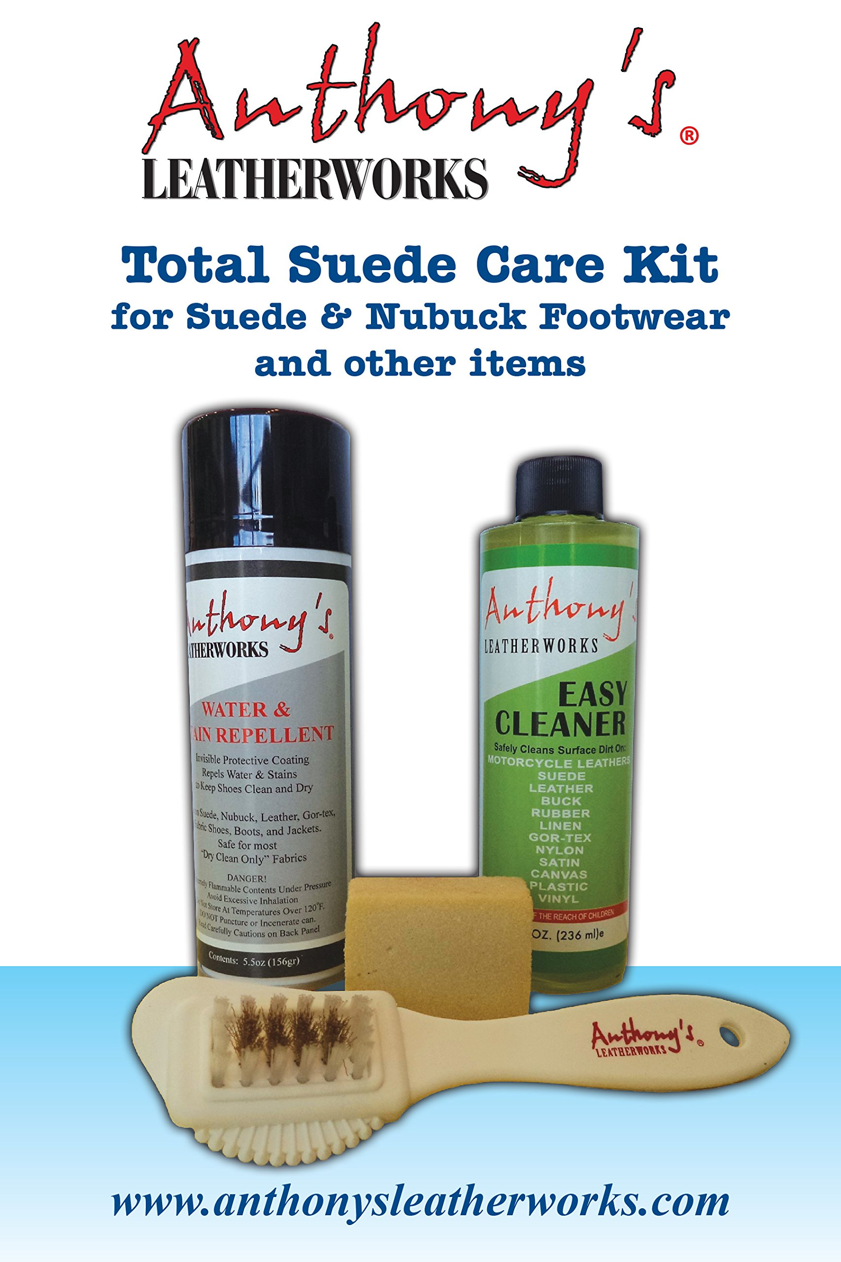 Anthony's Leatherworks Total Suede Care Kit for Suede & Nubuck Footwear, shoes, boots, jackets, purses and other items