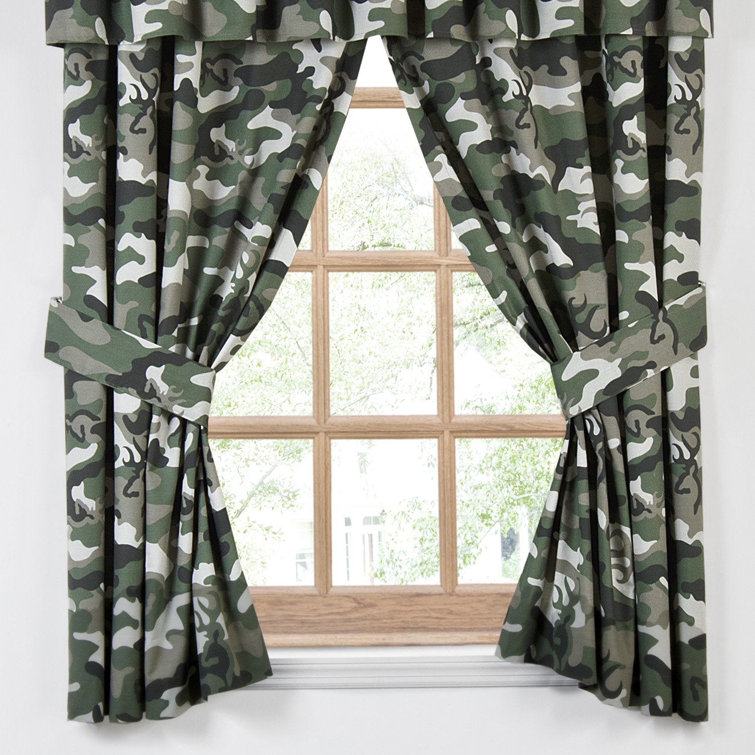 Buckmark Camo Lined Cotton / Poly Rod Pocket Drape Panel Pair