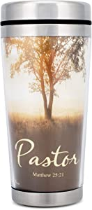 Pastor Matthew 25:21 Nature Scene 16 Oz. Stainless Steel Insulated Travel Mug with Lid