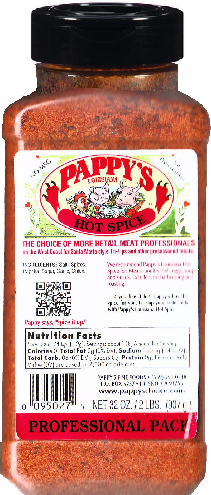 Pappy's Choice Seasoning - LOUISIANA HOT SPICE - (32 Oz Professional Pack)