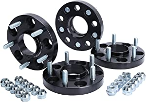 KSP 5X114.3mm Wheel Spacers 20mm Fit for H-o-n-d-a A-c-c-o-r-d Civic CR-V Element Acura CL ILX RSX TLX TSX MDX Forged Hubcentric 64.1mm bore, 12x1.5 Studs Black for 5 Lug Tires(4pcs)