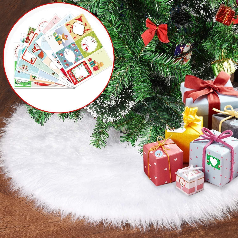 Joyjoz Christmas Tree Skirt, Small/Large White Christmas Tree Skirt (30 Inch) with 48 PCS Stickers,Luxury Faux Fur for Christmas Decorations Holiday, Xmas Ornaments