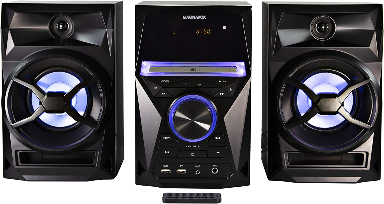 Magnavox MM441 3-Piece CD Shelf System with Digital PLL FM Stereo Radio, Bluetooth Wireless Technology, and Remote Control in Black | Blue Colored Speaker Lights | LED Display | AUX Port Compatible |