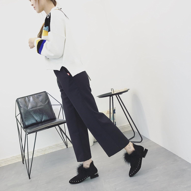 GTVERNH-Niedrige Absätze Stiefel Stiefel Stiefel Frau Martin Englischen Winter Warme Schuhe Weibliche Chelsea Stiefel Mit Spitzen Stiefeln 36 Schwarz 8236d5