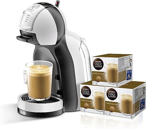 Pack DeLonghi Dolce Gusto Mini Me EDG305.WB - Cafetera de cápsulas, 15 bares de presión, color blanco y negro + 3 packs de café Dolce Gusto Con Leche: Amazon.es: Hogar