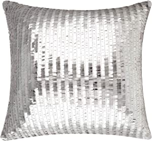 Merrycolor Sequin Throw Pillow Cover for Couch Sofa Sparkle Mermaid Decorative Cushion Cover Silver Glitter Accent Pillow Home Decor 16x16 Inches£¨Silver