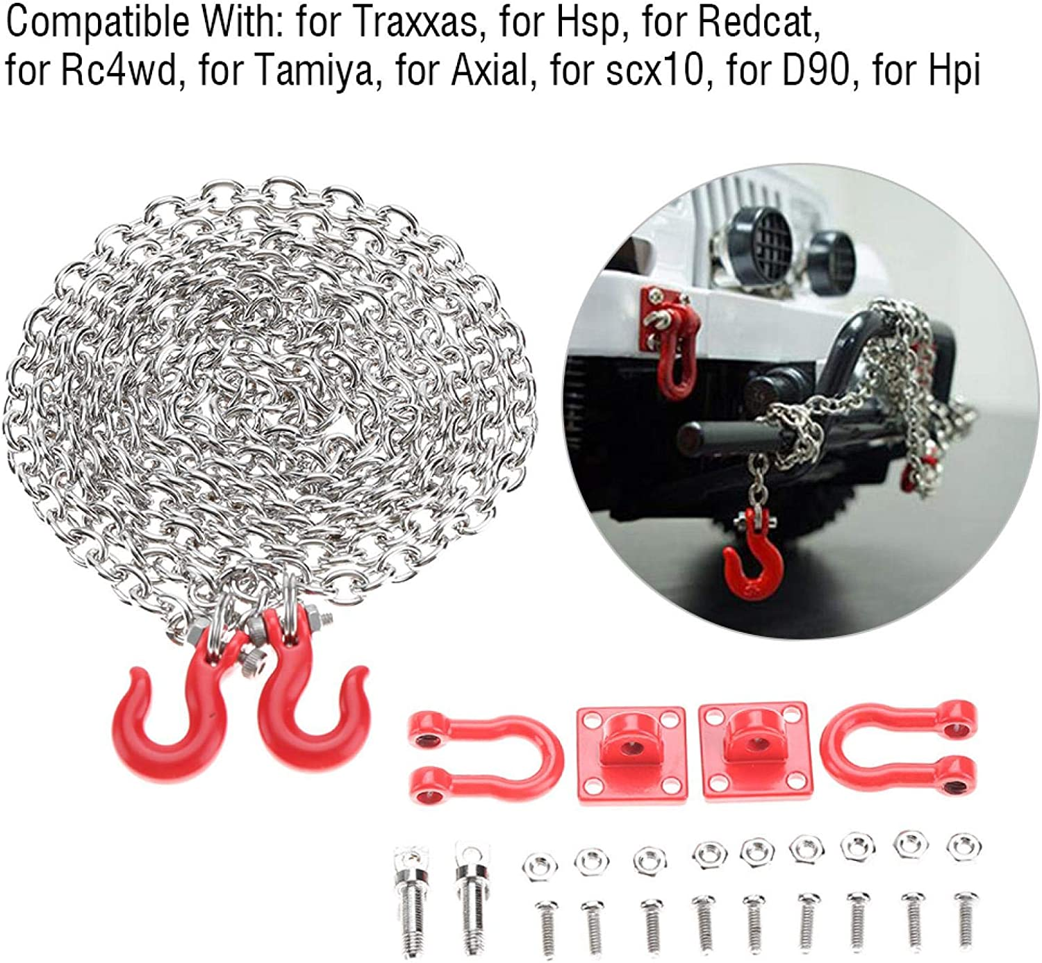 U Shaped RC Tow Chain Trailer Chain Parts RC Tow Hook Tow Chain Metal for Crawler Car RC Cars Daily Use Trailer Chain Assemble