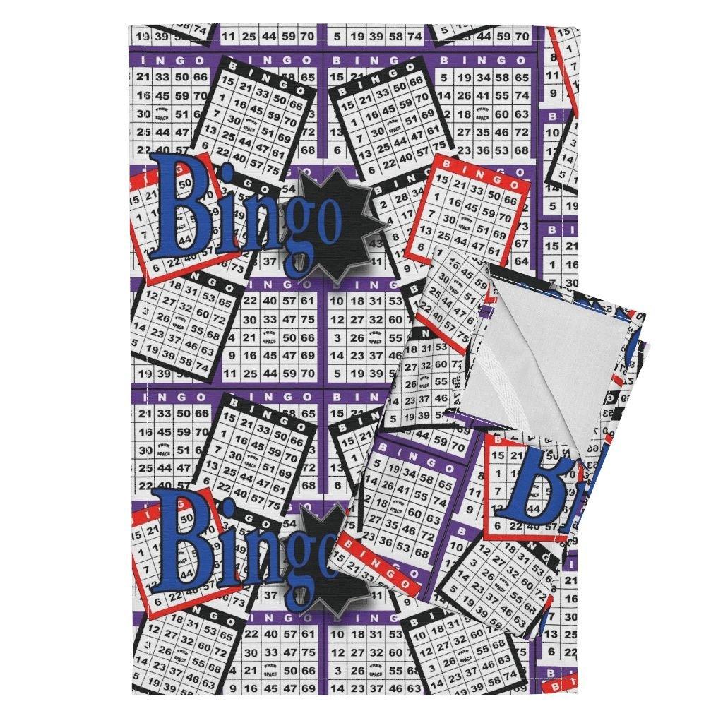 Roostery Bingo Tea Towels Bingo Cards by Dd Baz Set of 2 Linen Cotton Tea Towels by Roostery