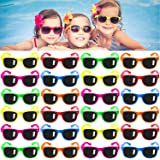 Kids Sunglasses Party Favors, 24Pack Neon Sunglasses for Kids,Boys and Girls, Great Gift for Birthday Party Supplies, Beach,