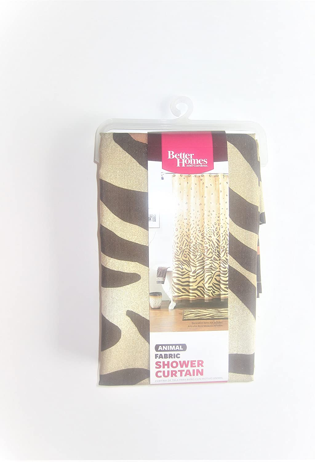 Better Homes and Gardens Shower Curtain Animal Leopard Print Gold Brown 72 x 72 inches