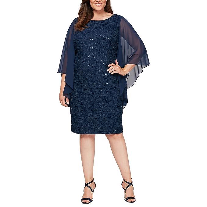 Alex Evenings Women\u0027s Plus,Size Midi Cap Sleeve Dress with Sequin