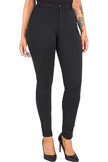 a0bdb10e1bf Poetic Justice Curvy Women s Black Ponte Faux Slit Welt Pockets Skinny Pant