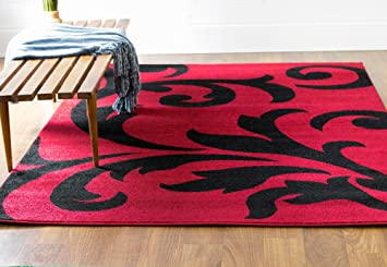 Amazon Com Super Area Rugs Transitional Rug Black Red