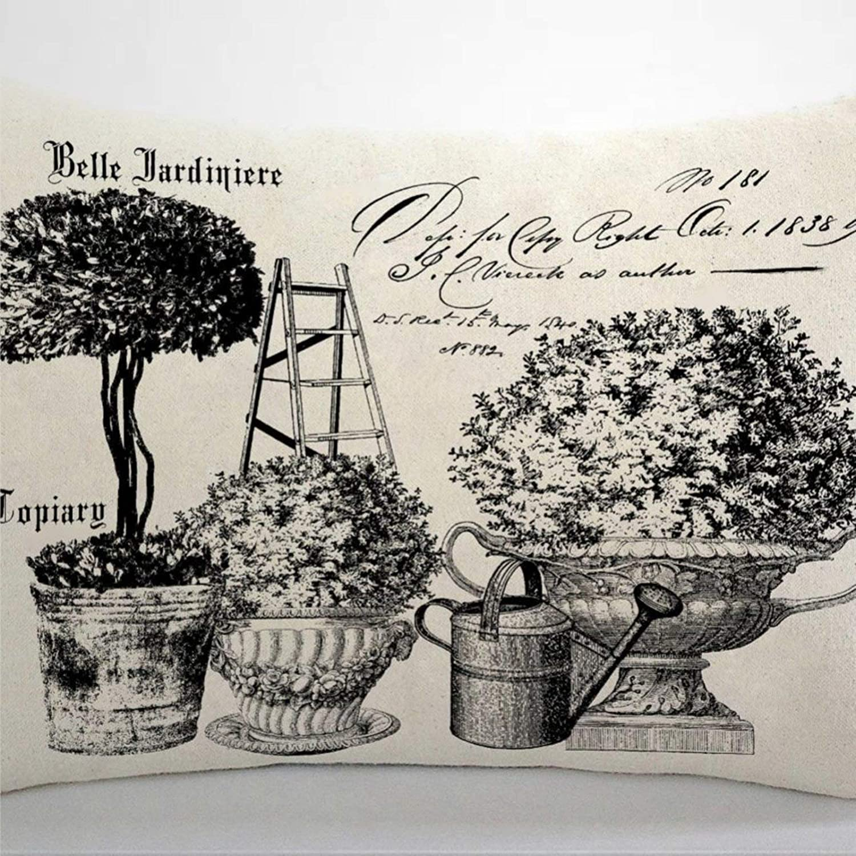 BYRON HOYLE French Topiary Cushion Cover,Throw Pillow Cover,Rustic Linen Decorative Lumbar Pillowcase for Chair Room Sofa car,Home Decor,Housewarming 12x20 Inch