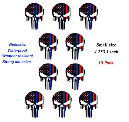 d4c7d858e Antrix Punisher Skull US Flag Decals, 10 Pack Punisher American Flag Car  Motorcycle Bicycle Skateboard