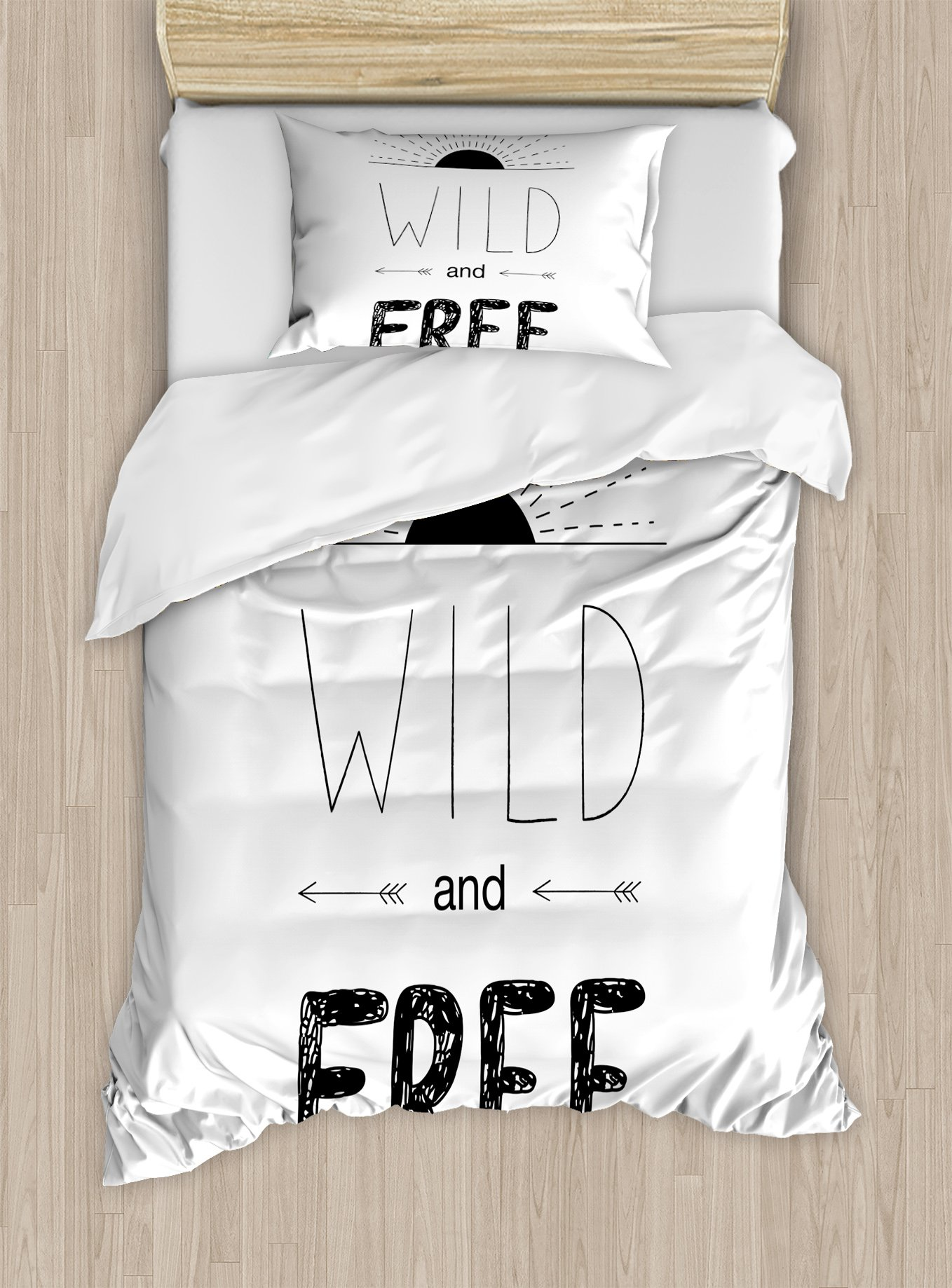 Ambesonne Adventure Duvet Cover Set Twin Size, Abstract Hand Drawn Rising Sun Figure Arrows Wild Free Forest Sketch Art Design, Decorative 2 Piece Bedding Set with 1 Pillow Sham, Black White
